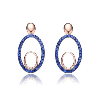 Collette Z Rose and Blue Plated Sterling Silver Black Cubic Zirconia Oval Earrings