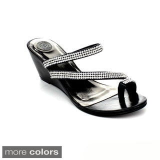 DBDK Women's 'Drina-1' Rhinestone Strap Wedge Sandals