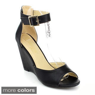 DBDK Women's 'Luba-5' D'Orsay Style Wedge Sandals