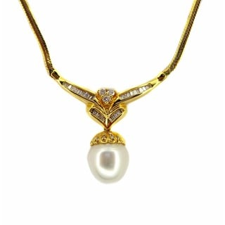 Kabella Luxe 14k Yellow Gold 3/4ct TDW Diamond and South Sea Pearl Necklace (I-J, SI3) (12-13 mm)