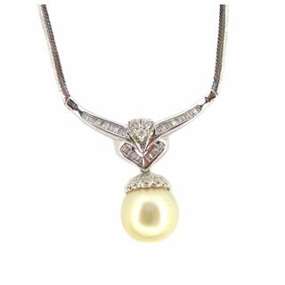 Kabella Luxe Estate 14k White Gold 5/8ct TDW Diamond and South Sea Pearl Necklace (H-I, SI3) (13-14 mm)
