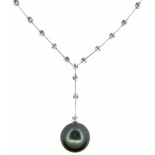 Kabella Luxe 18k White Gold 1/2ct TDW Diamond and Tahitian Pearl Necklace (H-I, I2-I3) (14-15 mm)