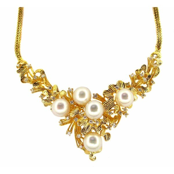 Kabella Luxe 14k Gold 1ct TDW Vintage Antique Era Diamond Japanese Akoya Pearl Necklace (G-H, SI1-SI2) (8-9 mm)