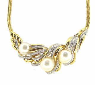 Kabella Luxe 18k Gold 1 5/8ct TDW Vintage Antique Era South Sea Pearl Diamond Necklace (H-I, SI1-SI2) (13-14 mm)