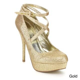 Mixx Shuz Women's 'Wendy-02' Glitter Ankle Strap Stiletto Pumps