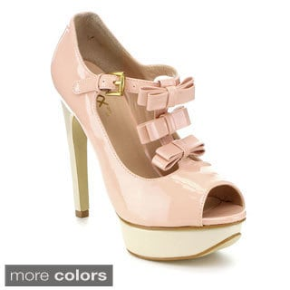 Mixx Shuz Women's 'Monica' Bow T-strap Stiletto Pumps