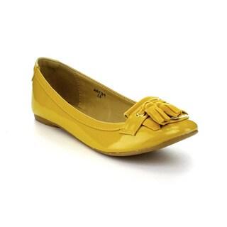 Mixx Shuz Women's 'Petra' Mustard Patent Loafer Ballet Flats