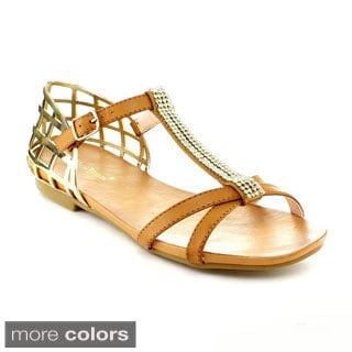 Nature Breeze Women's 'Seattle-01' Metallic Detail Gladiator Sandals