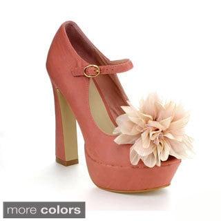 Mixx Shuz Women's 'Gwen-09' Floral Upper Chunky Heel Pumps