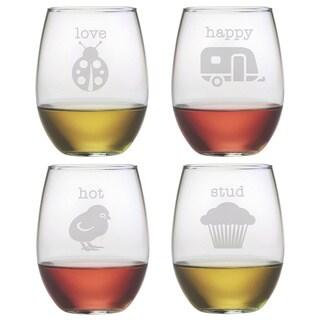 Pet Names Stemless Wine Glasses (Set of 4)