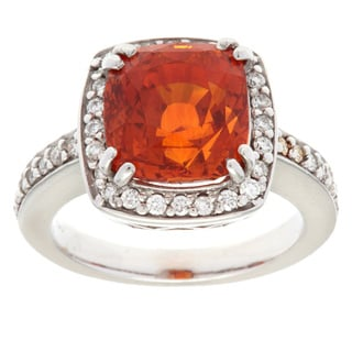 Pre-owned 18k White Gold 3/5ct TDW Orange Sapphire Ballerina Ring (I-J, SI1-SI2)