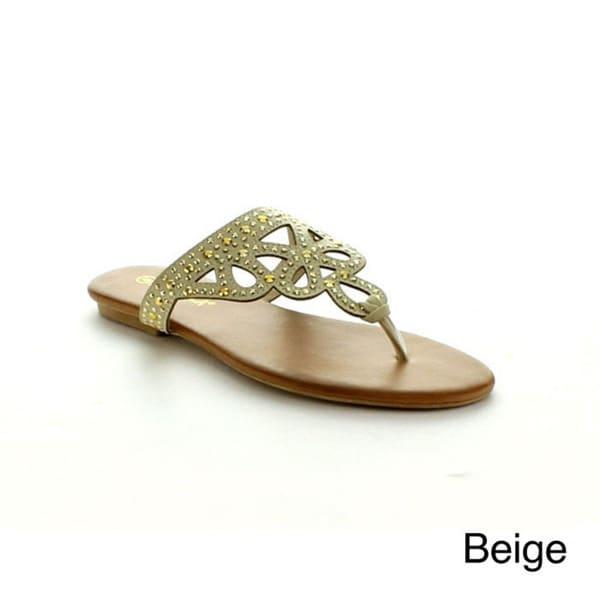 Rck Bella Women's 'Ava-15' Cut-out Studded Flip-flop Sandals