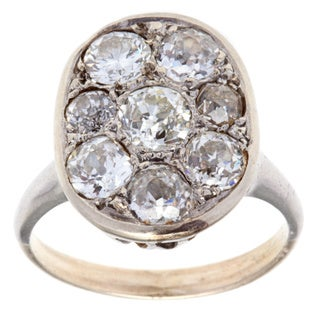 14k Gold and Platinum 2 1/2ct TDW Antique Cluster Ring (H-I, VS1-VS2)