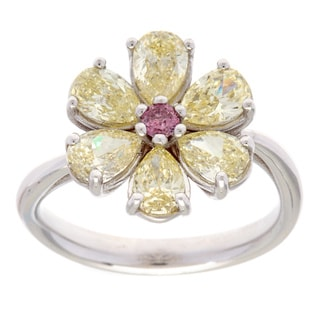 18k White Gold 2ct TDW Yellow Diamond Estate Flower Ring (VS1-VS2)
