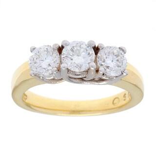 18k Yellow Gold 1 1/2ct TDW Three-stone Estate Engagement Ring (G-H, SI1-SI2)