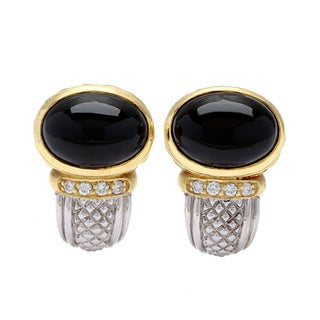 18k Yellow Gold and Sterling Silver 1/6ct TDW Onyx Hoop Earrings by Judith Ripka (G-H, SI1-SI2)