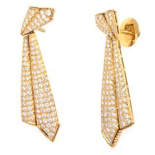 14k Yellow Gold 3ct TDW Pave Diamonds Estate Earrings (G-H, VS1-VS2)