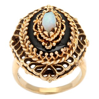 14k Yellow Gold Opal and Onyx Antique Estate Cocktail Ring