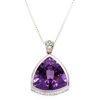 14k White Gold Giant Amethyst Estate Pendant Necklace