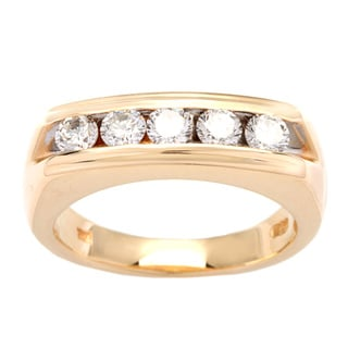 14k Yellow Gold 1ct TDW White Diamond Five-stone Ring (H-I, VS1-VS2)