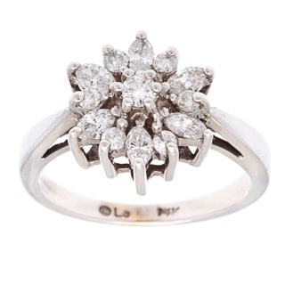 14k White Gold 1/3ct TDW Diamond Flower Estate Ring (I-J, SI1-SI2)