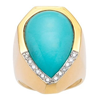Pre-owned 18k Yellow Gold 1/5ct TDW Diamond Giant Turquoise Cocktail Estate Ring (H-I, SI1-SI2)