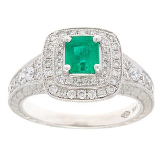 14k White Gold 3/4ct TDW Diamond and Emerald Ballerina Estate Ring (H-I, VS1-VS2)