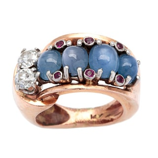 Pre-owned 14k Rose Gold 1/2ct TDW Diamond Star Sapphire Deco Estate Ring (H-I, SI1-SI2)