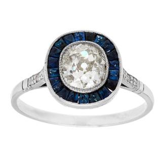 Platinum 1 1/10ct TDW Diamond and Sapphire Estate Engagement Ring (J-K, I1-I2)