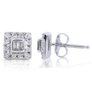 Annello 10k White Gold 1/5ct TDW Round and Baguette Diamond Stud Earrings (H-I, I2-I3)