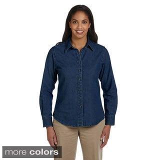 Harriton Women's Long Sleeve Denim Shirt