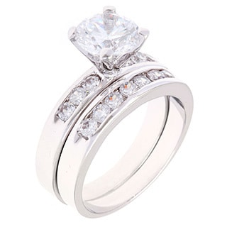 Simon Frank Platinum Based Rhodium CZ Bridal Inspired Ring Set