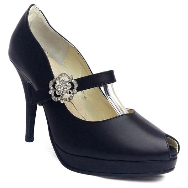 Angela Nuran Women's Tribeca Black Peep-toe Leather Pumps