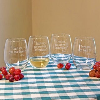 Trust Me Stemless Wine Glasses (Set of 4)