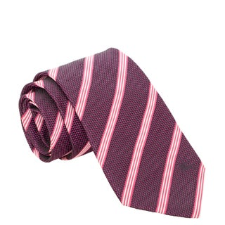 Burberry Purple and Pink Striped Woven Silk Tie