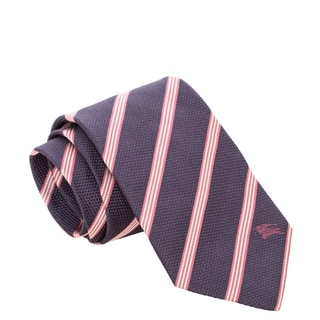 Burberry Navy Blue and Pink Striped Woven Silk Tie
