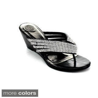DBDK Women's 'Drina-2' Rhinestone Encrusted Thong Sandals
