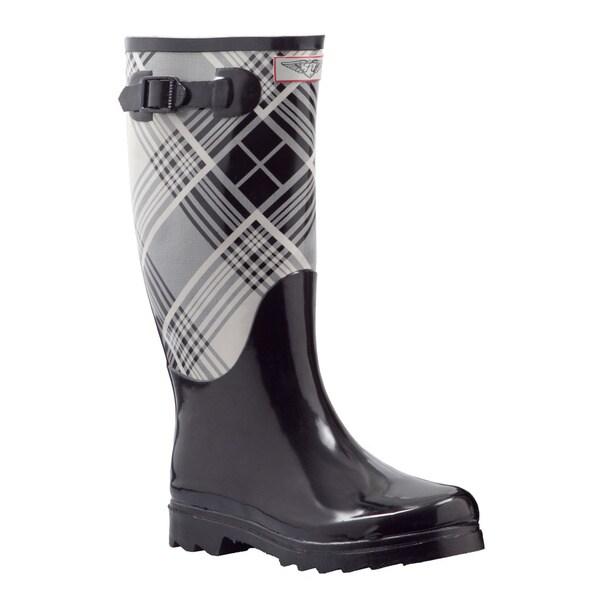 Women's Black Plaid Print Mid-calf Rain Boots