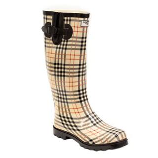 Women's Plaid Print Mid-calf Rain Boots