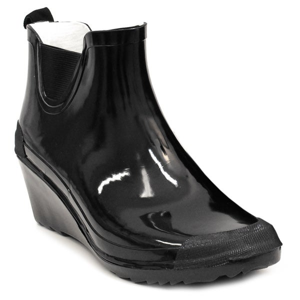 Women's Black Wedge-heel Ankle Rain Boots