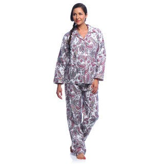 Aegean Apparel Women's Paisley Print Flannel Pajamas