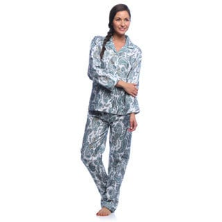 Aegean Apparel Women's Turquoise and Gold Paisley Print Pajama Set
