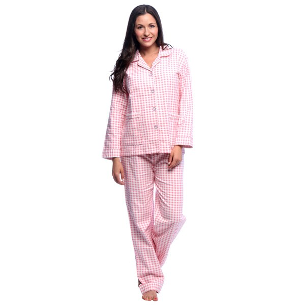 Aegean Apparel Womens Gingham Printed Flannel Pajama Set