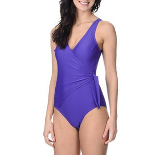 Alicia Simone Women's Mock-wrap One-piece Swimsuit