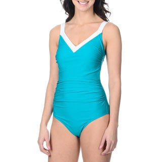 Alicia Simone Women's Drape-front Color Block One-piece Swimsuit