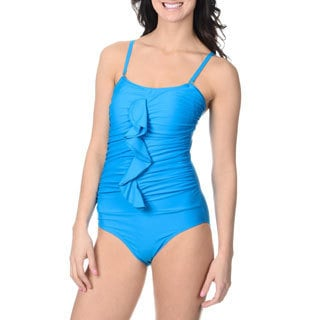 Alicia Simone Women's Turquoise Ruffle-front One-piece Swimsuit