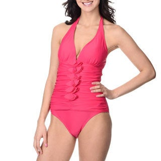 Alicia Simone Women's Rose Ruffle-front Halter One-piece Swimsuit
