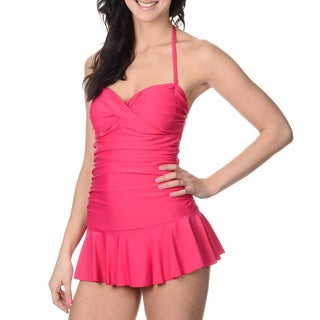 Alicia Simone Women's Solid Pink Bandeau Swim Dress