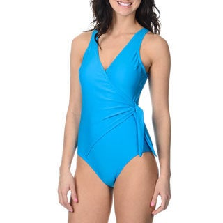 Alicia Simone Women's Turquoise Mock-wrap One-piece Swimsuit