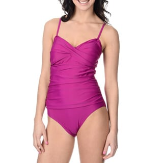 Alicia Simone Women's Solid Purple Ruched One-piece Swimsuit